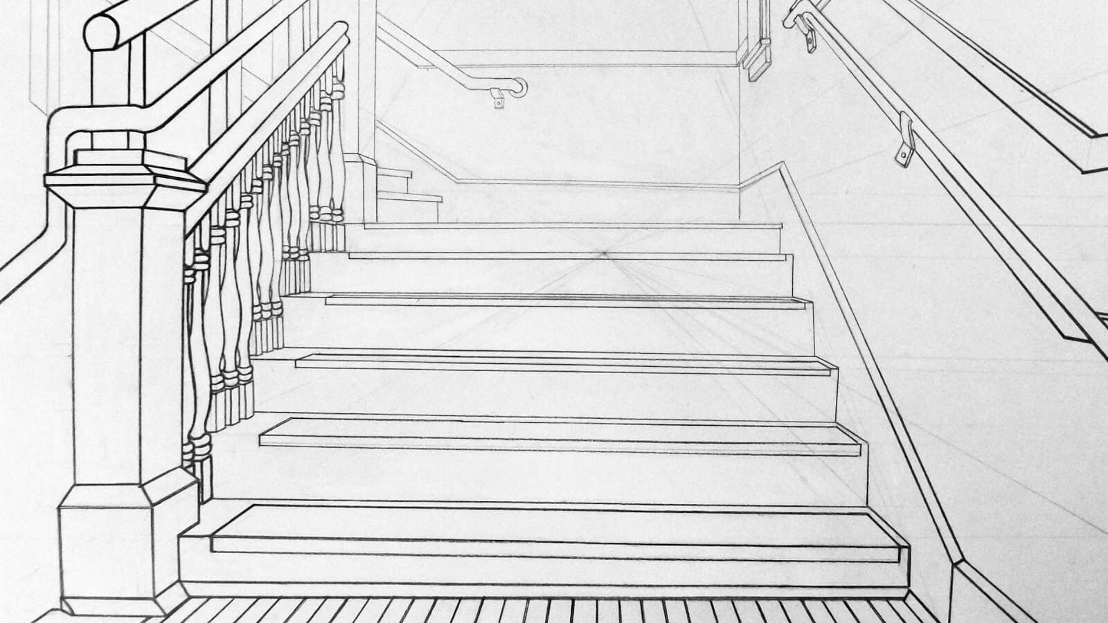 Разработка проекта лестницы из дерева (фото эскиза)