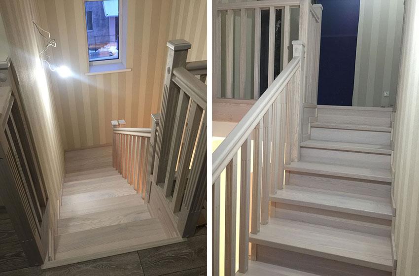 Деревянная обшивка лестниц. Фото изделия