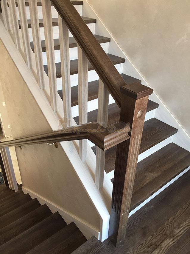 Облицовка лестницы ясенем (фото 11)