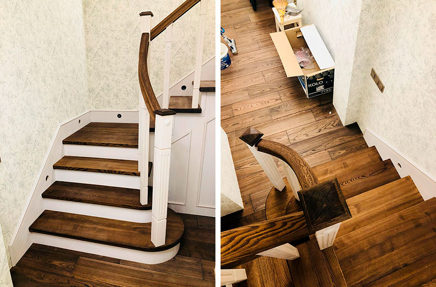 Деревянные лестницы на металлическом каркасе (фото)