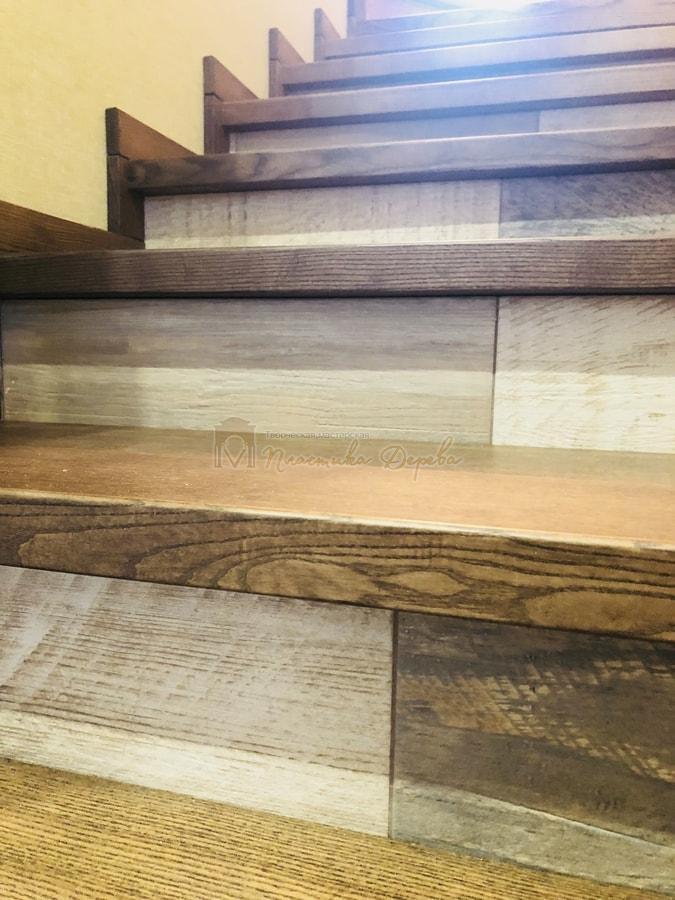 Обшивка бетонной лестницы деревом - Лесники (фото 6)