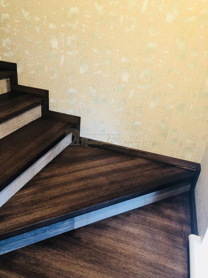 Обшивка бетонной лестницы деревом - Лесники (фото 8)
