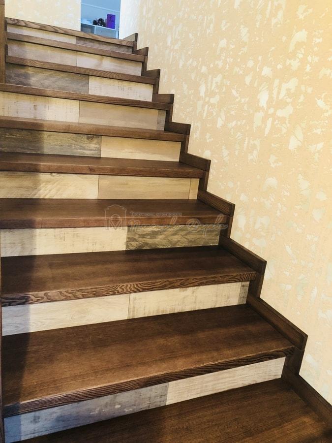 Обшивка бетонной лестницы деревом - Лесники (фото 9)