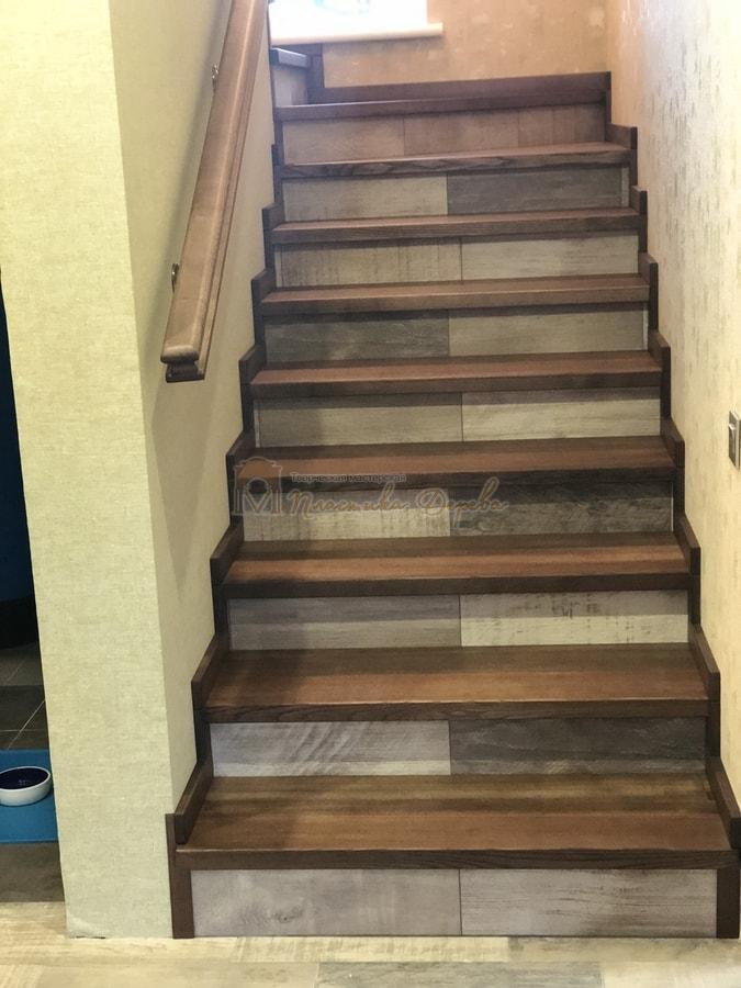 Обшивка бетонной лестницы деревом - Лесники (фото 10)