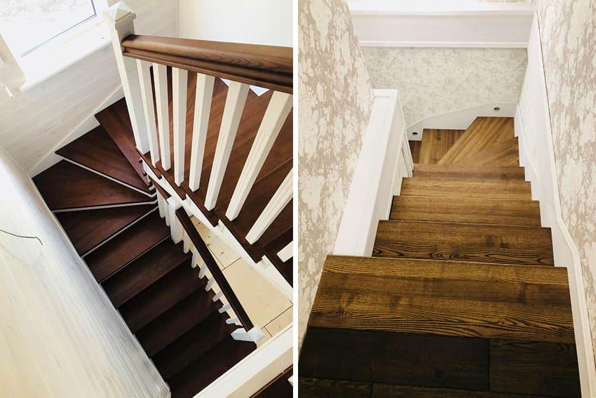 Обшивка лестниц деревом - бетонных и металлических